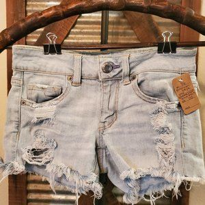 American Eagle Light Blue shredded Shorts